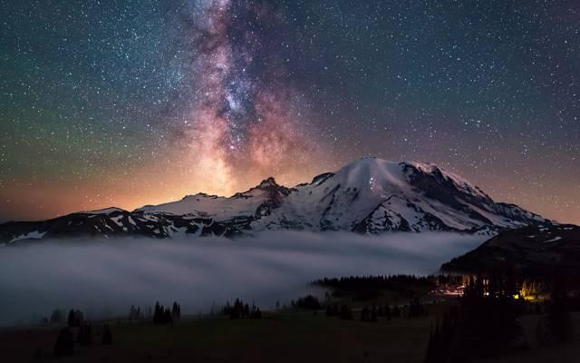 美国,森林,星星,stratovolcano,层叠山脉,天空,银河,雷尼尔山,夜间,...