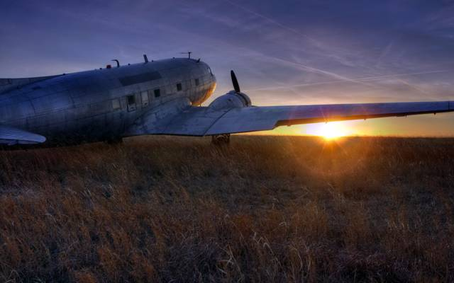 飞机,景观,日落
