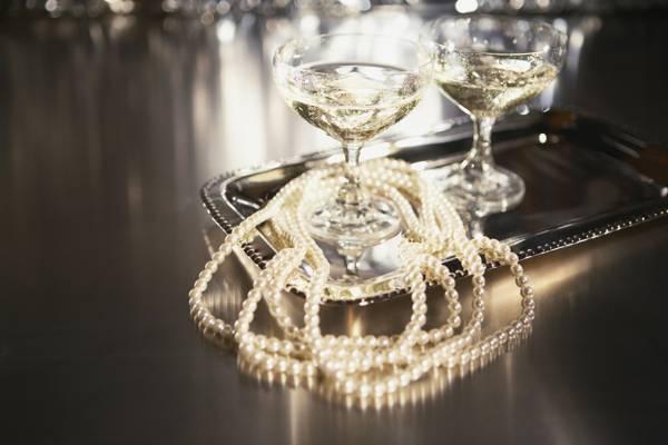 眼镜,珠子,珍珠,香槟,托盘