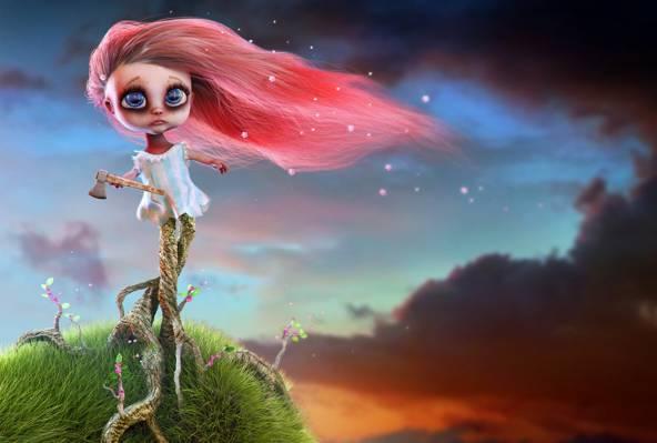 图形,斧,艺术,红色,女孩,头发,气氛,性格,根,天空,草