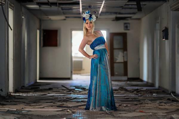 时尚,被遗弃,礼服,光,模型,走廊