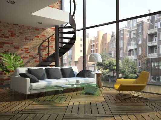 壁纸沙发,窗户,现代阁楼,楼梯