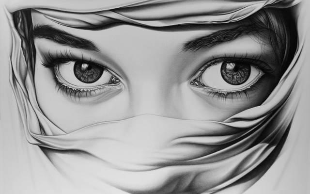 艺术,眼睛,女孩