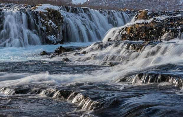 时间推移摄影的河流和石头,冰岛高清壁纸