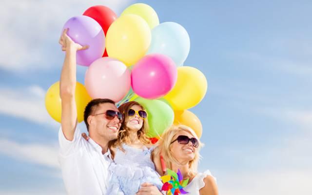 球,气球,家庭,快乐,人,人,丰富多彩,欢乐,幸福,天空,气球