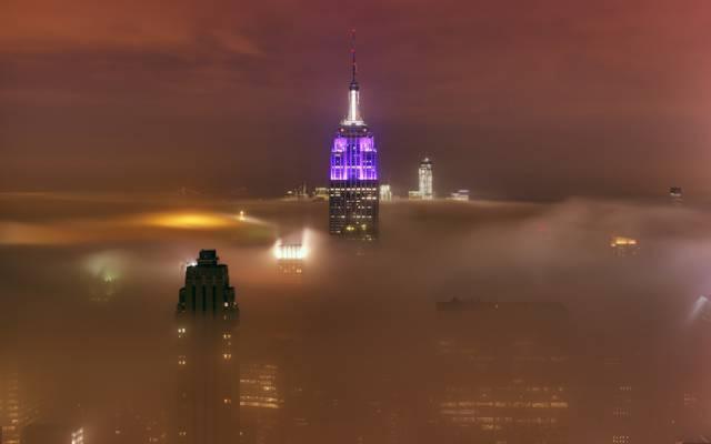 云,摩天大楼,光,建筑,雾,纽约,城市,灯,纽约,5月15日,...  -