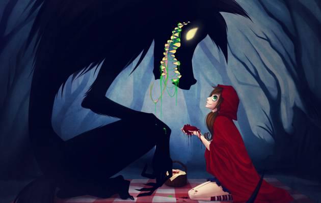 女孩,小红帽,斗篷,狼。