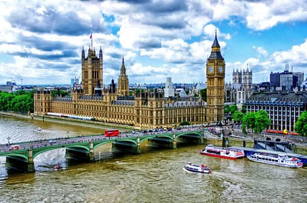 大本钟,威斯敏斯特宫,泰晤士河堤防,游船,伦敦,威斯敏斯特桥
