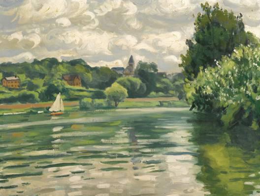 壁纸图片,船,阿尔伯特·马凯,在塞纳河上航行,阿尔伯特·马凯,风景,帆
