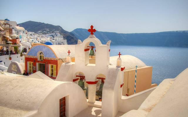 壁纸大海,圣托里尼,希腊,山,教堂,家,天空
