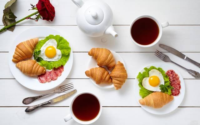 杯,牛角包,心,咖啡,浪漫,咖啡,爱,早餐,成长,心,早餐,玫瑰