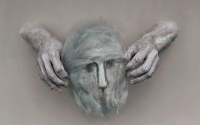 手,面具,背景