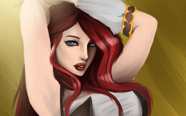 看,手,蓝色的眼睛,红色,小姐财富,艺术,传奇,头发,女孩,哈哈联盟