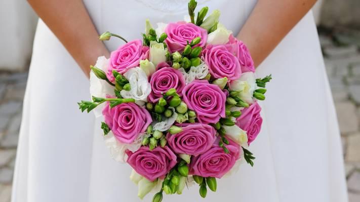 新娘,婚礼,女孩,花束
