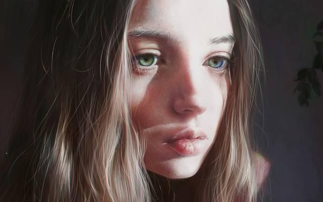 看,头发,女孩,美容,脸,眼睛,艺术