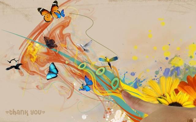 鸟,蝴蝶,抽象
