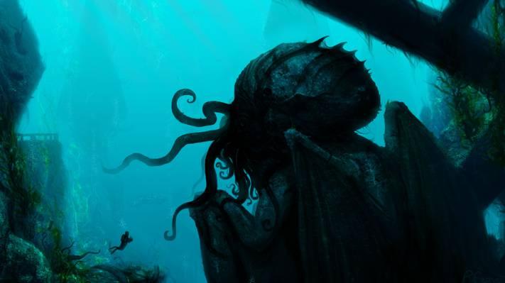 触角,艺术,潜水员,岩石,在水之下,怪物,废墟