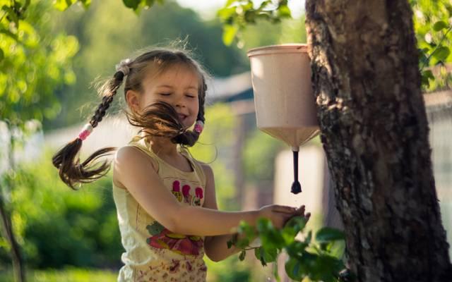 女孩,美丽,童年,风,爱,辫子,埃琳娜Chelysheva,平房,树,水,水槽,喜悦,夏天,...