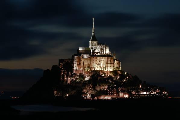 灯光,背光,晚上,法国,圣米歇尔山,洛基岛,诺曼底