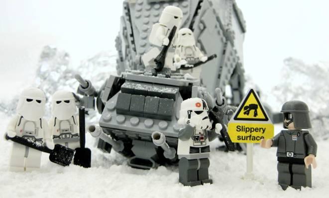 乐高,星球大战,星球大战,冬天,滑表面,克隆,滑表面