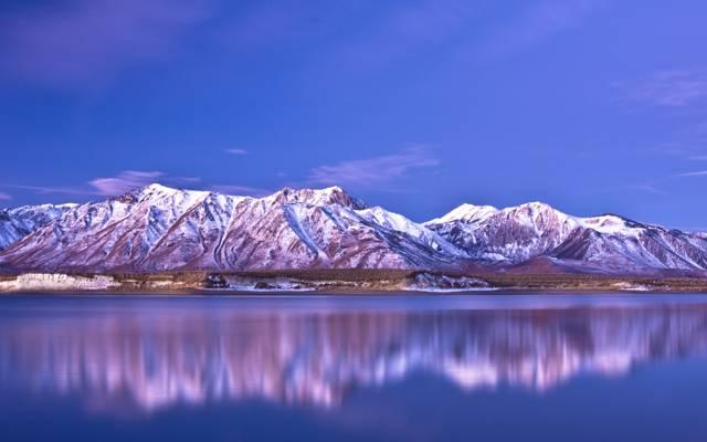 天空,湖泊,倒影,山脉