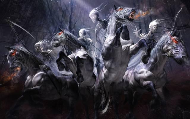 艺术,骷髅,不死,马,雨,yayashin,剑,森林,车手,辫子,弓