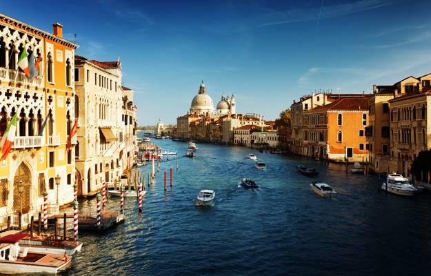 意大利,威尼斯,家,建筑,小船,通道,威尼斯,大运河,意大利