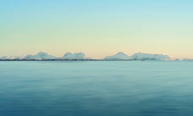 海,雪,小山,地平线,天空,岸,日落