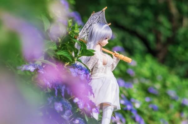 夏天,绣球花,伞,鲜花,娃娃
