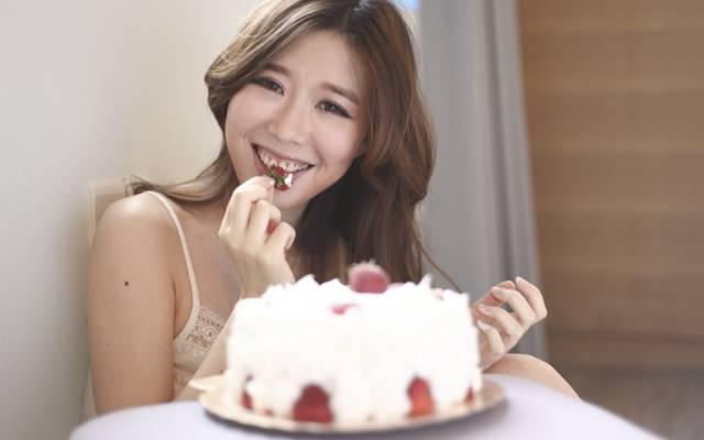 蛋糕,女孩,理想,脸,草莓,头发