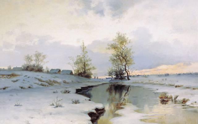 河,春天伊万ENDOGUROV,雪,油,帆布