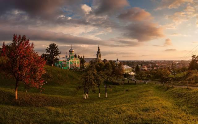 尼古拉斯修道院,天空,乌克兰,道路,树木,云彩,Transcarpathia