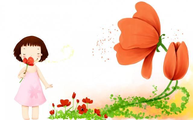 鲜花,女孩,花瓣,婴儿壁纸,微笑,礼服