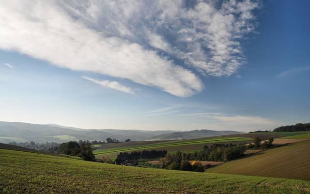 田野,天空,奥地利,丘陵,树木,云
