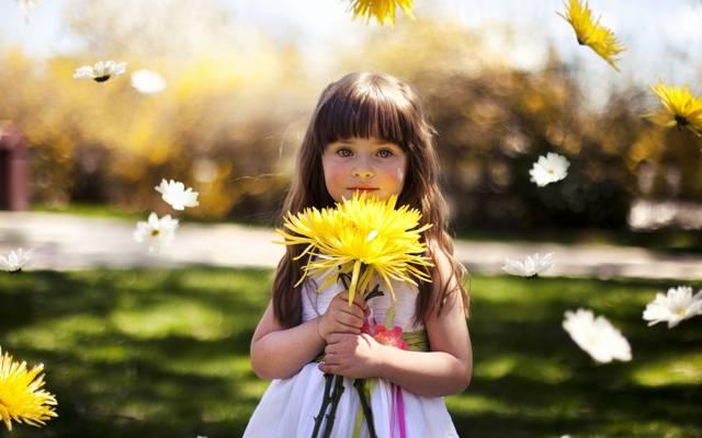 女孩,心情,鲜花