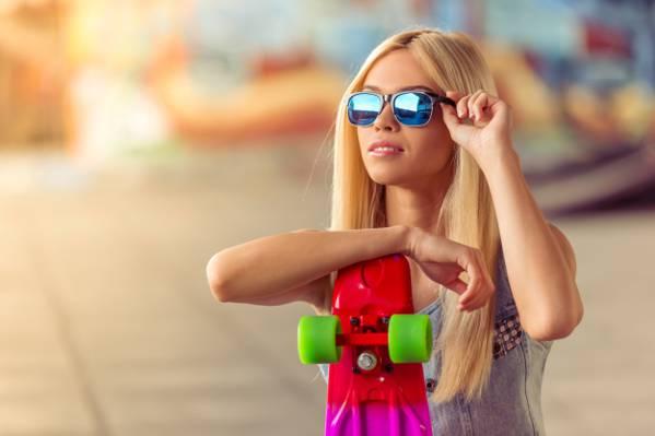 背景,金发女郎,滑冰,发型,散景,眼镜,太阳,滑板