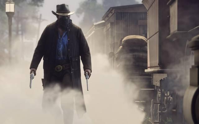 左轮手枪,红色死者,牛仔,烟雾,武器,红色死者的救赎2