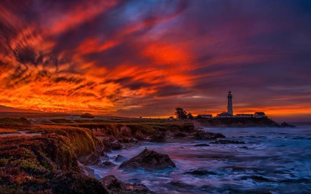 鸽子角灯塔,半月湾,太平洋海岸公路,加利福尼亚州,圣克鲁斯,大苏尔