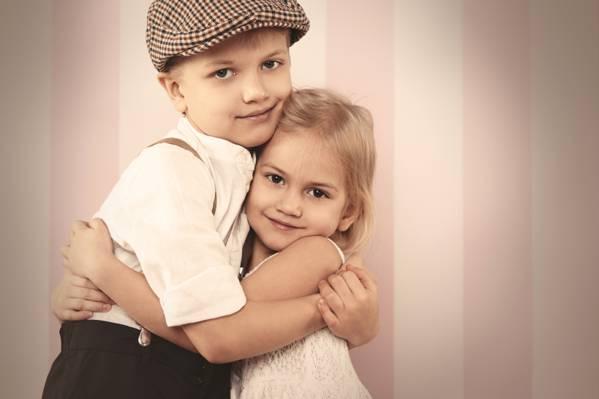 手,男孩,朋友,小女孩,拥抱,爱,男孩,孩子,朋友,拥抱,复古,女孩