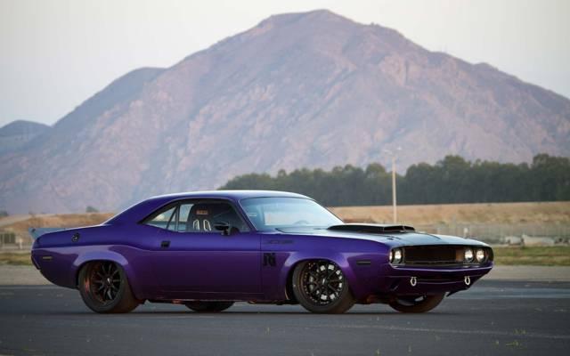 壁纸道奇挑战者,紫色,定制,肌肉车,1970年