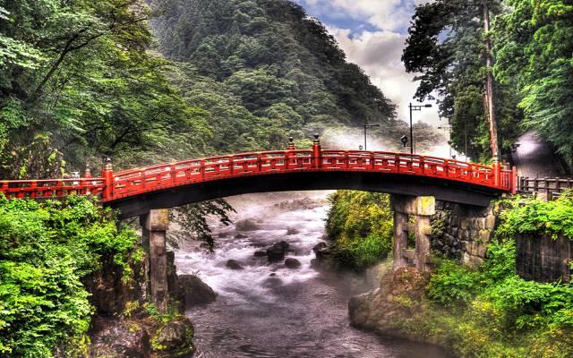 山,桥,树,日本,河,绿色,东京,为,石头