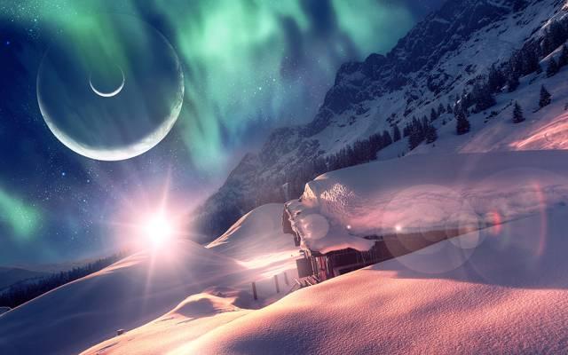 梦幻世界,地球,房子,雪,冬天,森林