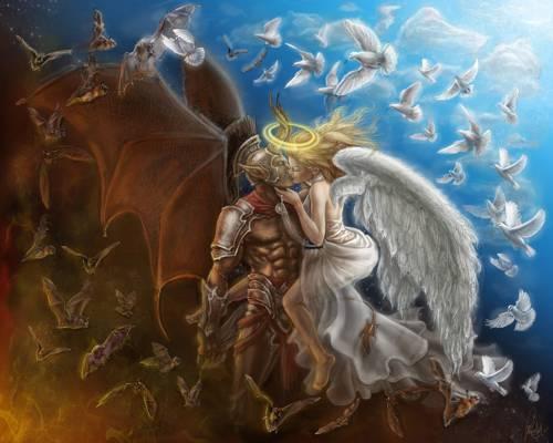 翅膀,恶魔,光环,天使,蝙蝠,角,吻,鸽子