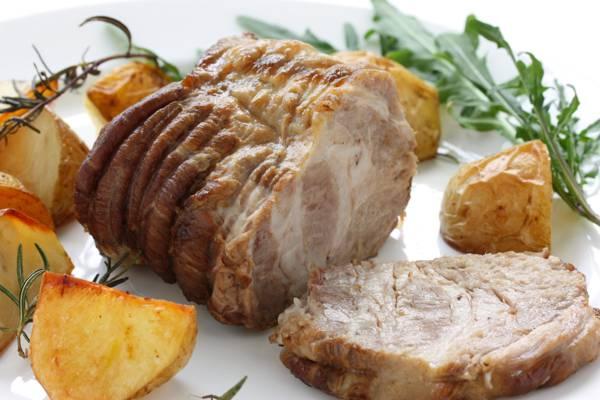 肉菜,蔬菜,烤肉,烤土豆