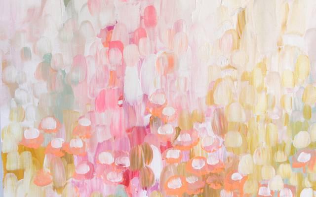 鲜花,油漆,涂抹,质地,抽象,春天