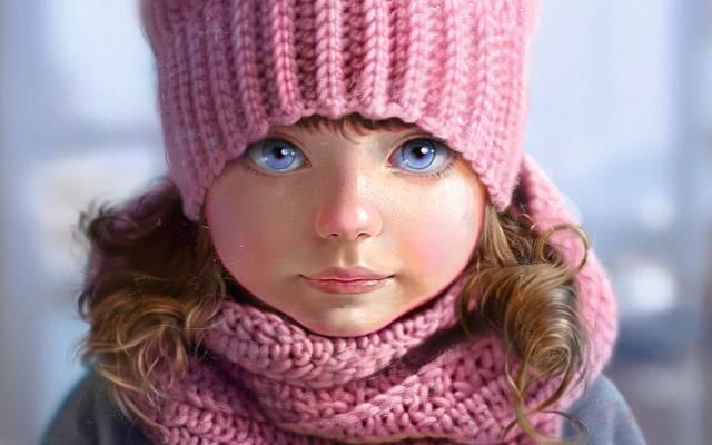 针织,粉红色,围巾,艺术,灰色背景,帽子,脸,Nutsa,蓝色的眼睛,雀斑,女孩,肖像