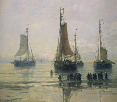 帆,海景,人们,Scheveningse渔船在锚,亨德里克威廉Mesdag,船,石油,船,帆布,...