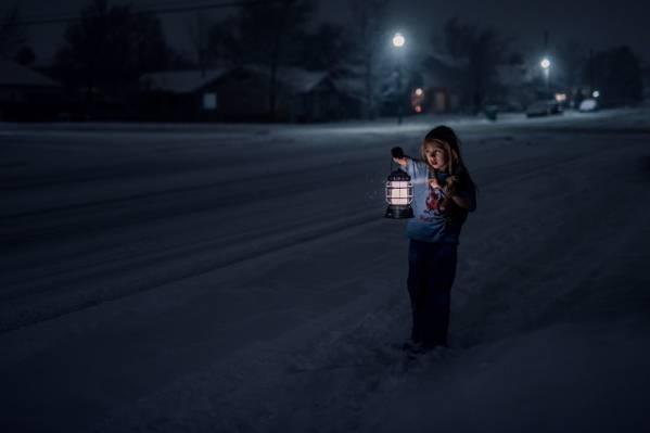 灯笼,冬天,寂寞,冷,恐惧,街头,女孩