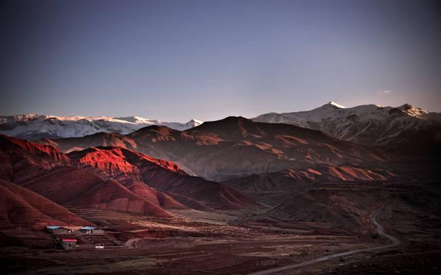 伊朗,阿拉莫特,房屋,山,路