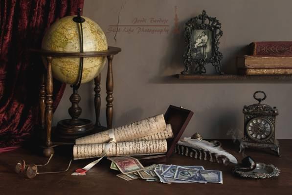 滚动,照片,眼镜,静物,钱,手表,管,全球,书籍,笔